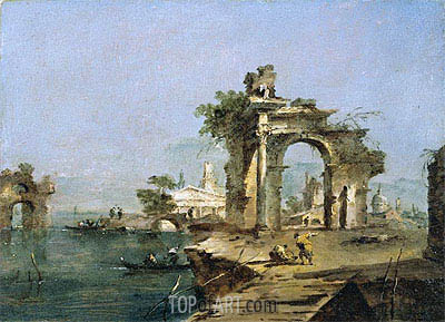 Francesco Guardi | A Venetian Capriccio with Figures by the Lagoon a Ruined Arch and Temple Beyond, c.1775/80