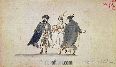 Three Masked Figures in Carnival Costume, c.1775/80 | Francesco Guardi | Painting Reproduction