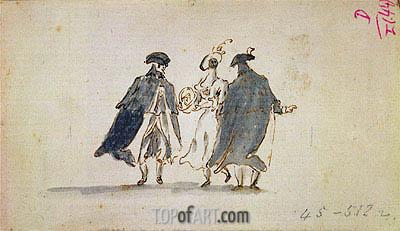 Francesco Guardi | Three Masked Figures in Carnival Costume, c.1775/80