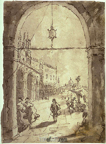 Venetian Scene, undated | Francesco Guardi | Painting Reproduction