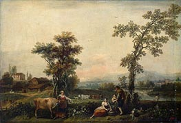 Landscape with a Woman Leading a Cow, c.1740 von Francesco Zuccarelli | Gemälde-Reproduktion