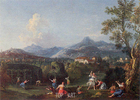 An Italianate Landscape with Women Sporting with a Decoy Bird, undated | Francesco Zuccarelli | Painting Reproduction