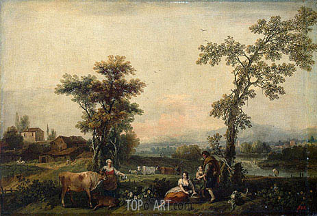 Landscape with a Woman Leading a Cow, c.1740 | Francesco Zuccarelli | Painting Reproduction