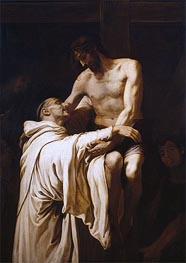 Christ Embracing Saint Bernard, c.1626 by Francisco Ribalta | Painting Reproduction