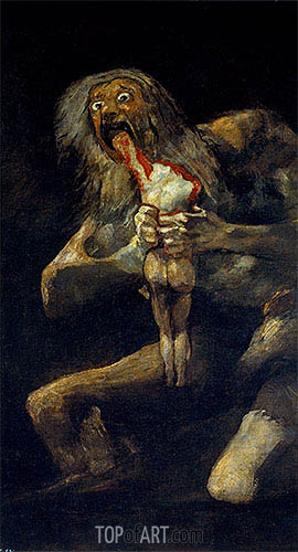 Saturn Devouring one of His Sons, c.1821/23 | Goya | Gemälde Reproduktion
