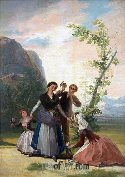 The Flower Girls or Spring, 1786 | Goya | Painting Reproduction