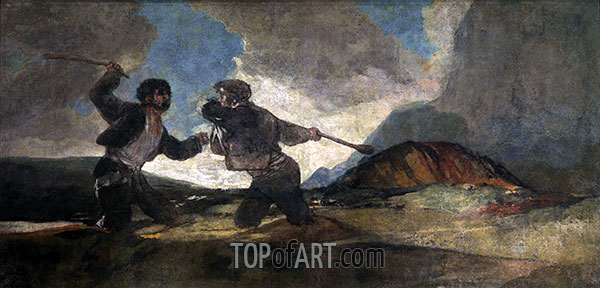 Goya | Fight to the Death with Clubs, c.1820/23