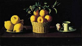 Still Life with Oranges, Lemons and Rose, 1633 by Zurbaran | Painting Reproduction