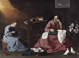 Christ and the Virgin in the House at Nazareth, c.1635/40 by Zurbaran | Painting Reproduction