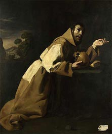 St. Francis in Meditation, 1639 by Zurbaran | Painting Reproduction