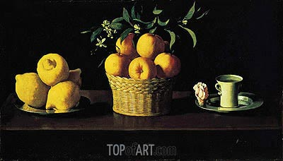 Still Life with Oranges, Lemons and Rose, 1633 | Zurbaran| Gemälde Reproduktion