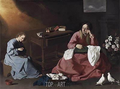 Christ and the Virgin in the House at Nazareth, c.1635/40 | Zurbaran | Gemälde Reproduktion
