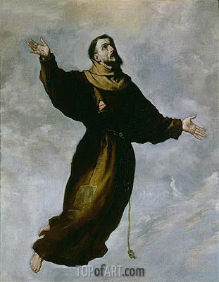 Levitation of St. Francis,  | Zurbaran| Painting Reproduction