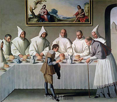 St. Hugh of Cluny in the Refectory of the Carthusians, 1633 | Zurbaran| Painting Reproduction