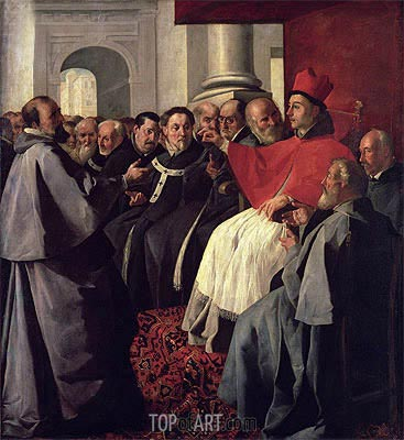 St. Bonaventure at the Council of Lyons in 1274, 1627 | Zurbaran| Gemälde Reproduktion