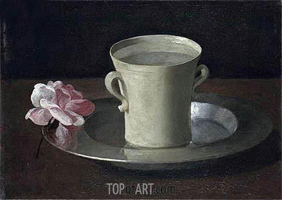 A Cup of Water and a Rose on a Silver Plate, c.1630 | Zurbaran | Painting Reproduction