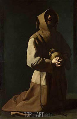 Saint Francis in Meditation, c.1635/39 | Zurbaran| Painting Reproduction