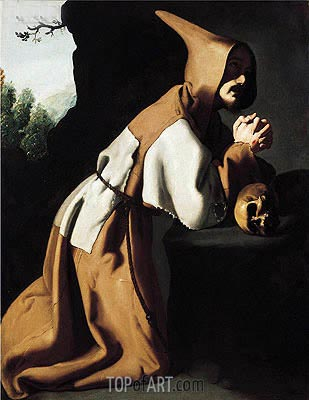 Saint Francis in Prayer, c.1638/39 | Zurbaran| Painting Reproduction