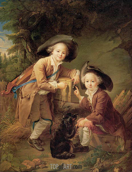 The Comte and Chevalier de Choiseul as Savoyards, 1758 | Francois-Hubert Drouais | Painting Reproduction