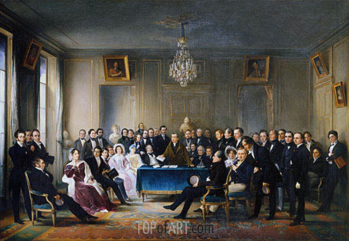 François-Joseph Heim | Andrieux Reading his Tragedy Junius Brutus in the Foyer of the Comédie Française, 1847