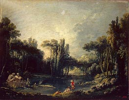 Landscape with a Pond, 1746 by Boucher | Painting Reproduction