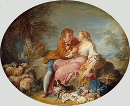Pastoral Scene, c.1730 by Boucher | Painting Reproduction