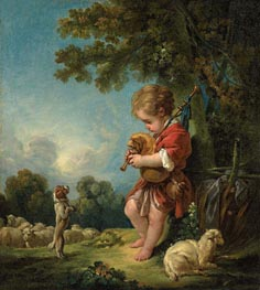 Shepherd Boy Playing Bagpipes, c.1754 by Boucher | Painting Reproduction