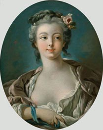 Young Woman with Flowers in Her Hair | Boucher | Painting Reproduction