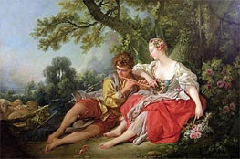 Shepherd Piping to a Shepherdess, c.1747/50 by Boucher | Painting Reproduction