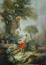 Landscape with Figures Gathering Cherries, 1768 by Boucher | Painting Reproduction