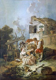 Man Offering Grapes to a Girl, 1752 by Boucher | Painting Reproduction