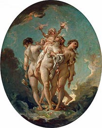 The Three Graces carrying Amor, God of Love, undated by Boucher | Painting Reproduction
