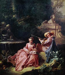The Music Lesson, 1749 by Boucher | Painting Reproduction