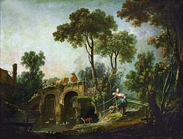 The Bridge, 1751 by Boucher | Painting Reproduction
