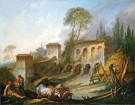 Capriccio View from the Campo Vaccino, 1734 by Boucher | Painting Reproduction