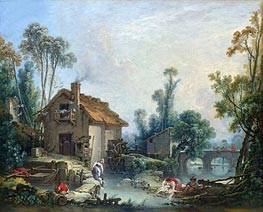 Landscape with a Watermill, 1755 by Boucher | Painting Reproduction