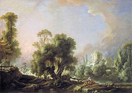 Idyllic Landscape with Woman Fishing, 1761 by Boucher | Painting Reproduction