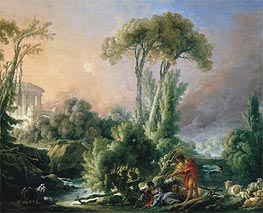 River Landscape with an Antique Temple, 1762 by Boucher | Painting Reproduction