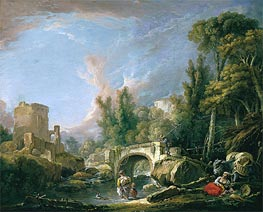 River Landscape with Ruin and Bridge, 1762 by Boucher | Painting Reproduction