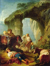 Pastoral Scene, undated by Boucher | Painting Reproduction