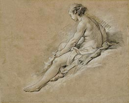 A Seated Nude Girl, undated by Boucher | Painting Reproduction
