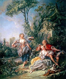 Lovers in a Park, undated by Boucher | Painting Reproduction