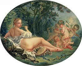 Maenad Playing the Pipe, c.1735/38 by Boucher | Painting Reproduction