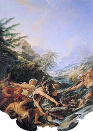 Crocodile Hunt, 1739 by Boucher | Painting Reproduction
