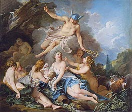 Mercury Confiding the Infant Bacchus to the Nymphs, c.1732/34 by Boucher | Painting Reproduction