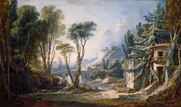 Pastoral Landscape with River, 1741 by Boucher | Painting Reproduction