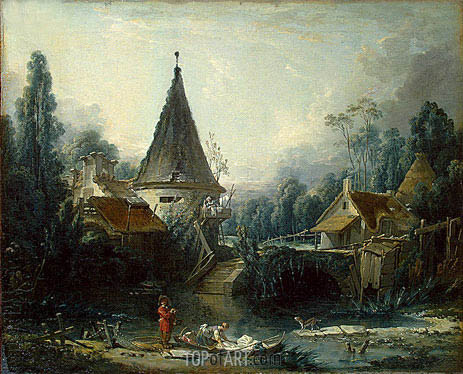 Landscape Near Beauvais, c.1740 | Boucher | Painting Reproduction