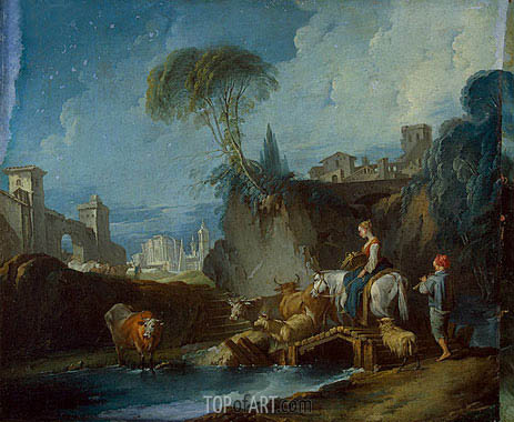 Crossing the Bridge, c.1730 | Boucher | Painting Reproduction