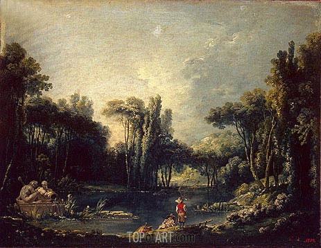 Landscape with a Pond, 1746 | Boucher | Gemälde Reproduktion