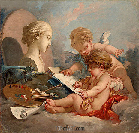 Cupids Allegory of Painting, c.1760 | Boucher | Gemälde Reproduktion